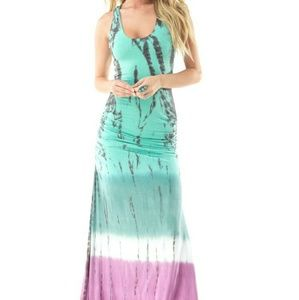 SKY tie dye maxi dress with embroidery back. NWT